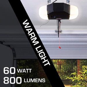 LED light bulb rated for the garage, 60 Watts, 800 Lumens, Universal for all garage door opener brands