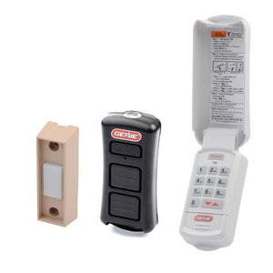 Genie garage door opener accessory bundle comes with a psuh button, 2 button flashlight remote, and a wireless keypad