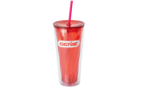 Plastic Reusable cup with lid and straw - Genie Brand Logo