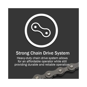 Genies ChainDrive 750 includes the strong garage door opener chain drive system