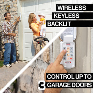 The Genie Wireless Keyless entry pad is backlit and can control up to three garage doors