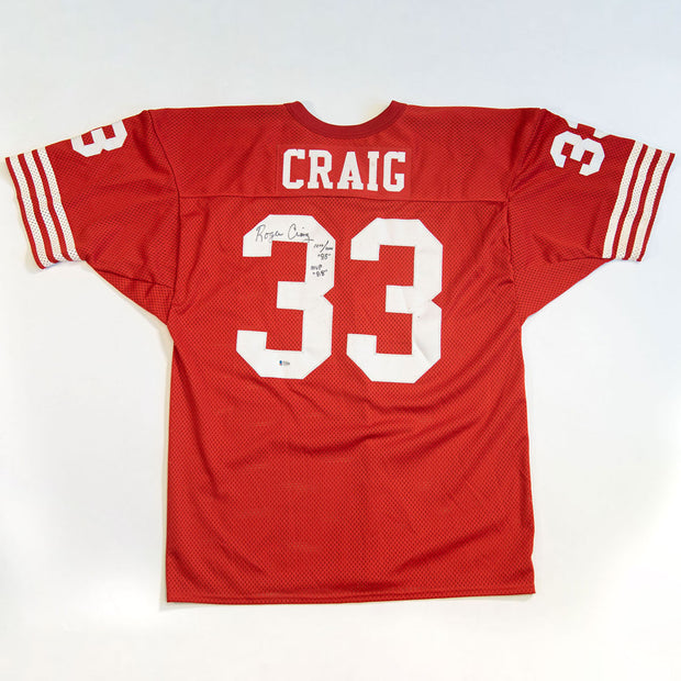Roger Craig San Francisco 49ers Autographed Jersey with MVP '88 Inscription and 1000/1000 '85 Inscription
