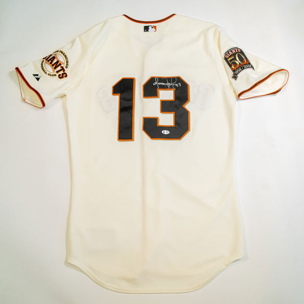Omar Vizquel San Francisco Giants Autographed Majestic Grey Jersey with '1958-2008' patch on sleeve