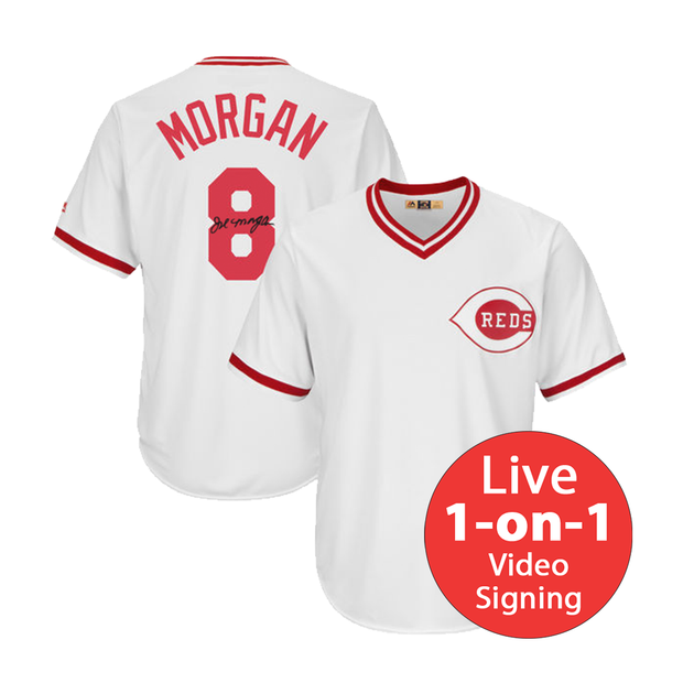Joe Morgan LIVE Video signing Replica Reds Jersey