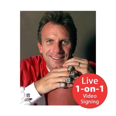 "Joe Montana LIVE Video Signing 8""x10"" Rings Photo"