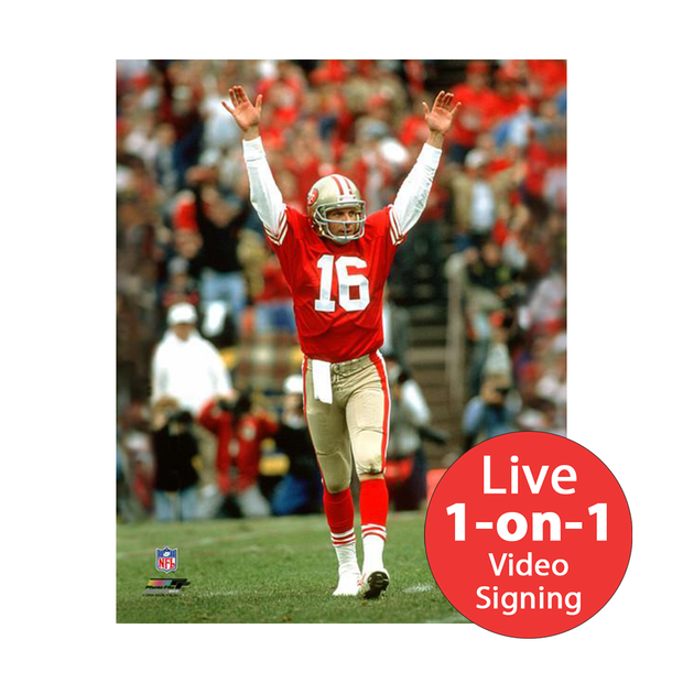 "Joe Montana LIVE Video Signing 16""x20"" 49ers Red TD Photo"