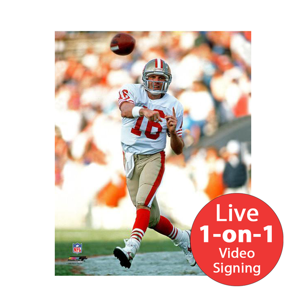 "Joe Montana LIVE Video Signing 8""x10"" 49ers White Photo"