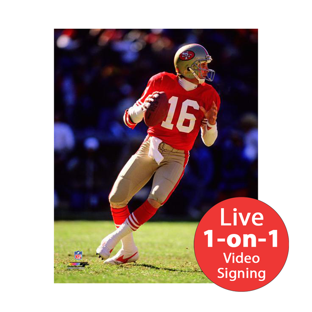 "Joe Montana LIVE Video Signing 16""x20"" 49ers Red Photo"