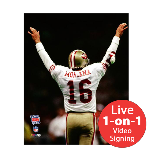 "Joe Montana LIVE Video Signing 16""x20"" 49ers White TD Photo"