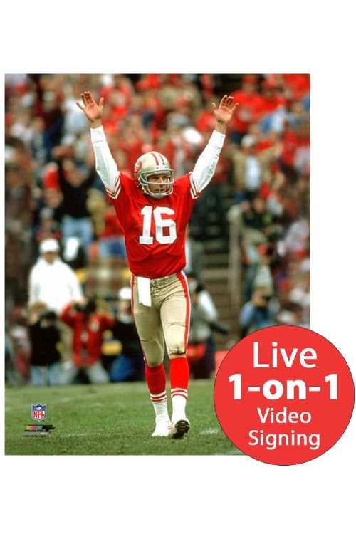 Joe Montana LIVE Video Signing 16x20 49ers Red TD