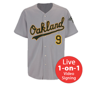 Reggie Jackson LIVE Video Signing A's Home Jersey