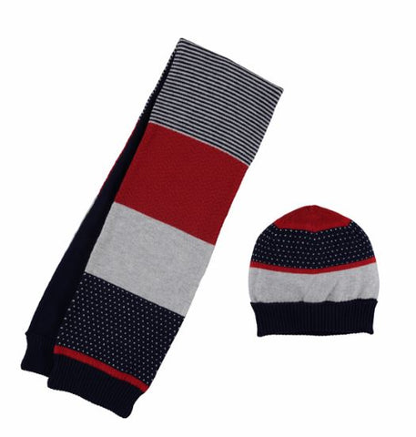 Red Striped Scarf Cap Set