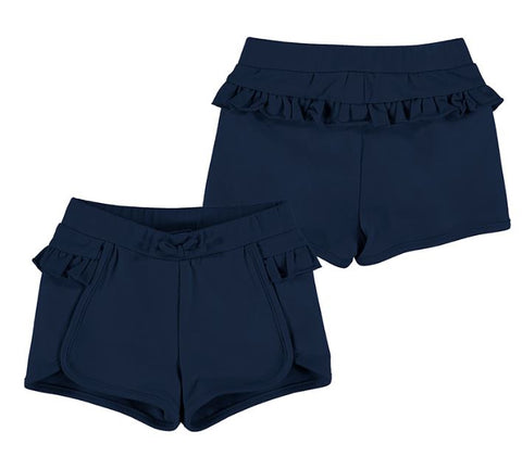 Navy Ruffled Shorts