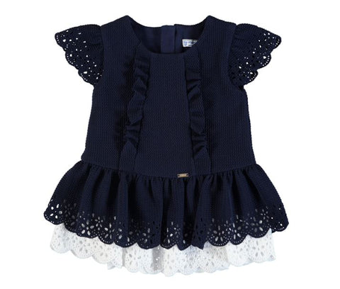 Navy Pique Knit Dress