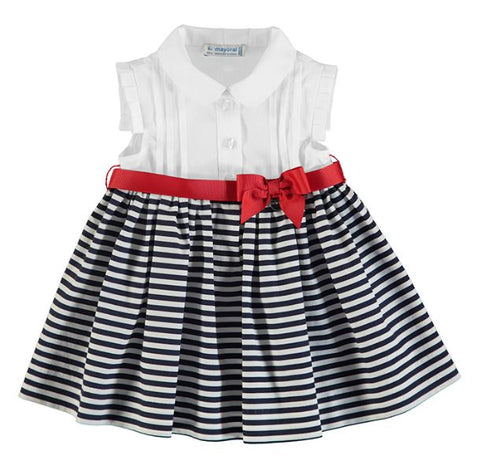 Girls  White and Marino Striped Dress
