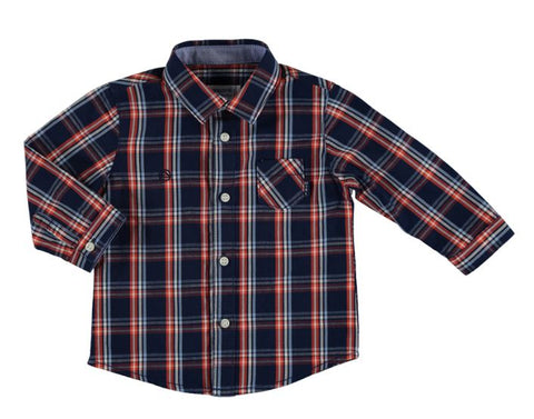 Dark Blue L/S Check Shirt