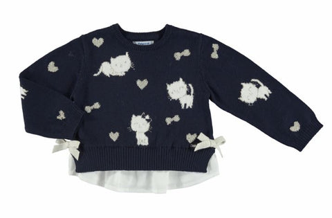 Kitty Navy Combined Knit Sweater