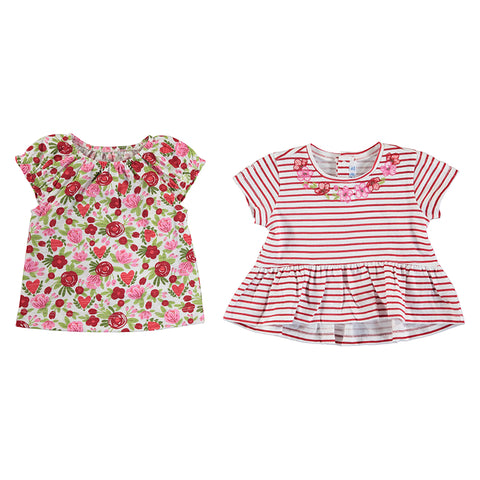 Girls 2 Piece T-shirts Poppy red set