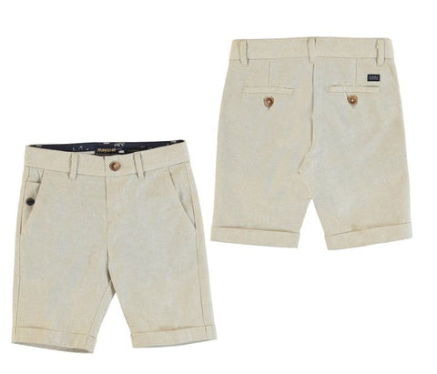 Beige Tailored Linen Shorts