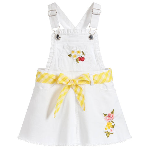 White Embroidered Overall Dress