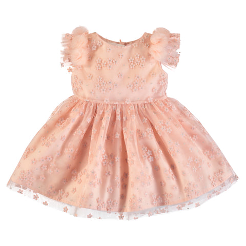 Girl Peach Flowers Tulle Dress
