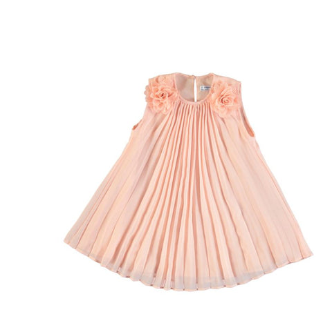 Peach Flowers Pleated Dress