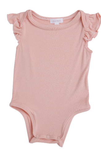 Girls Modern Basic Ruffle Onesie Pale Pink