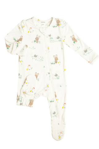 Boys Little Farmer Boy Zipper Footie