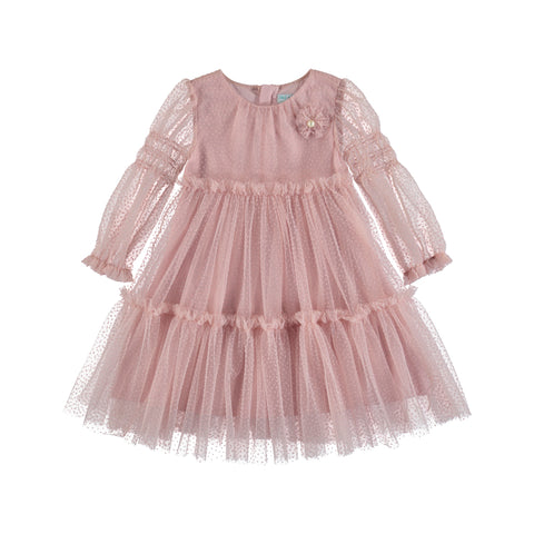 Rose Plumeti Girls Tulle Dress