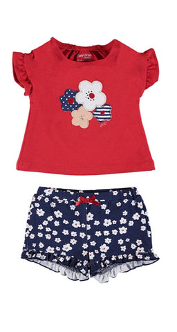 Girls  Red Flower Knit Set