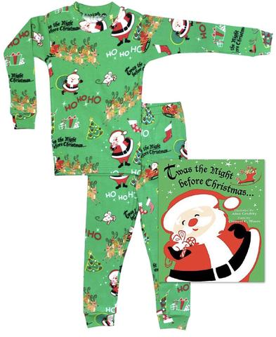 Boy Green Ho Ho Ho Pajama Set with Book