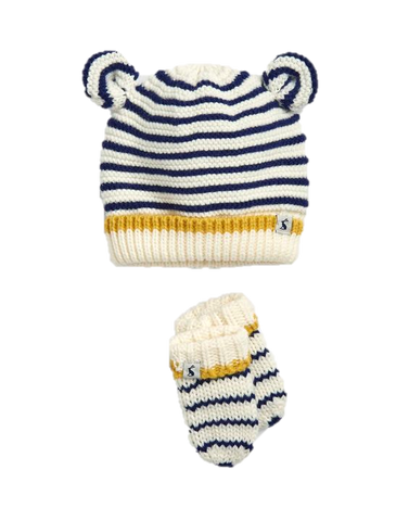 Navy Stripe Hat and Mitten Set