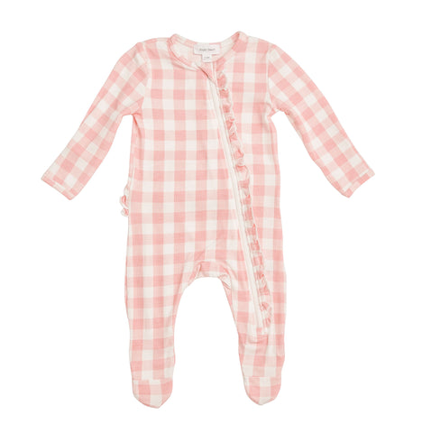 Gingham Pink Footie