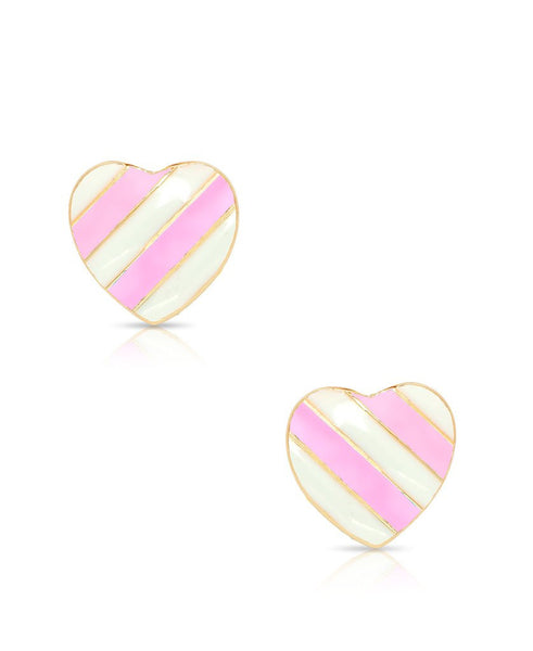Striped Heart Studs Earrings
