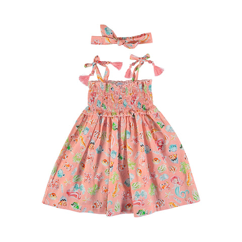 Girls Flamingo Dress w Smock