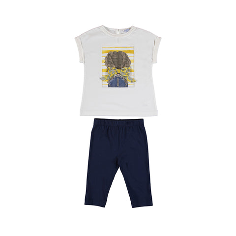 Girls Navy Foll Leggings Set