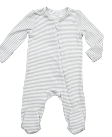 Gray Stripe Zipper Footie