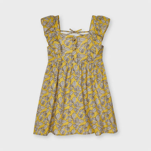 Girls Leaf Printed Dress
