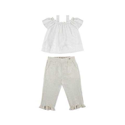 Girls Stone Linen Long Trouser and Blouse Set