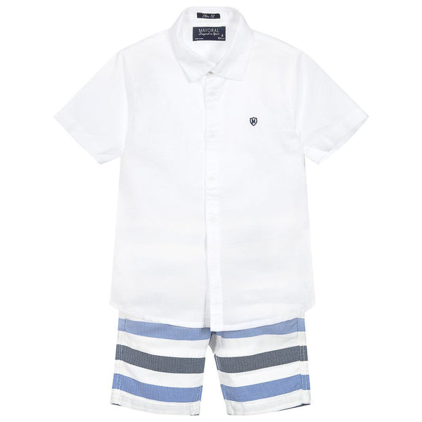 White and Blue Striped Linen Short Set