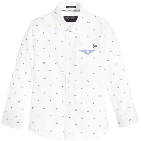 Mayoral White Design L/s Shirt