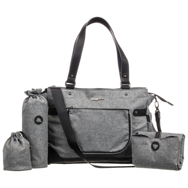 Charcoal Handbag with Accessories