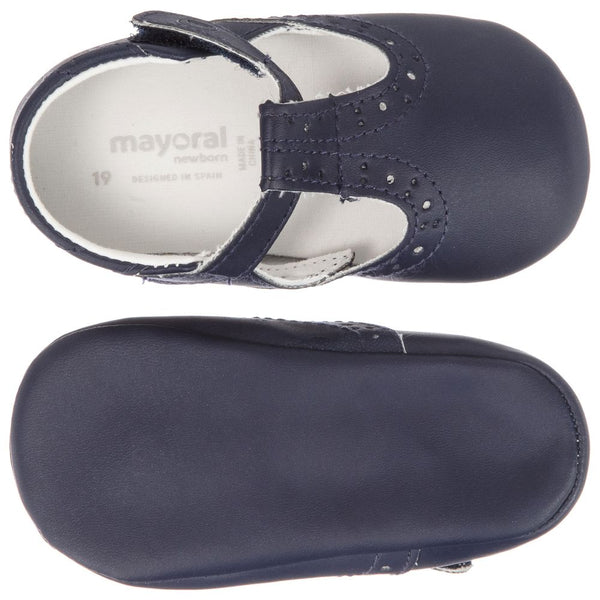 Navy Faux Leather Shoes