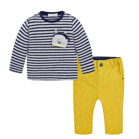 Mustard Striped T-Shirt & Pants Set