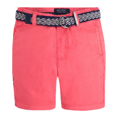 Red Belted Chino Shorts