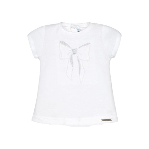 White & Silver Bow Short Sleeve t-shirt