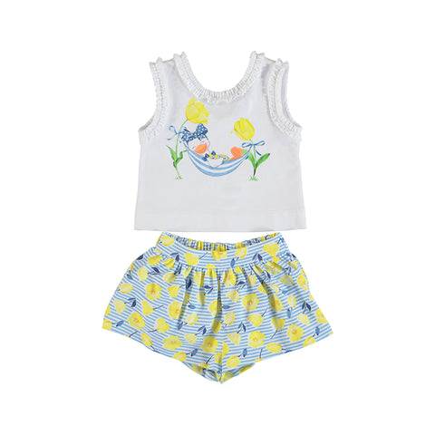 Girls Yellow Printed Shorts Set