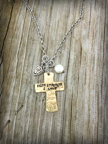 FAITH STRENGTH & LOVE CROSS GOLD NECKLACE