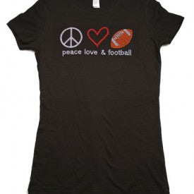 PEACE LOVE  & FOOTBALL FITTED TEE IN BLACK
