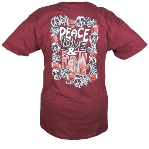 PEACE LOVE & FOOTBALL TEE (Available in multiple colors)